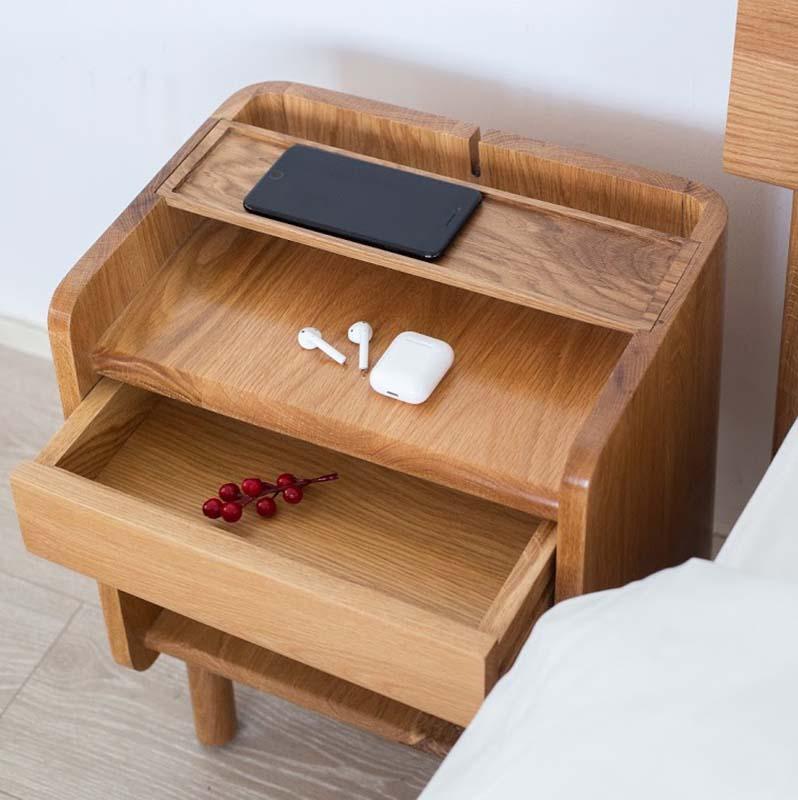 Tủ đầu giường TARO gỗ sồi tăng tiện ích phòng ngủ