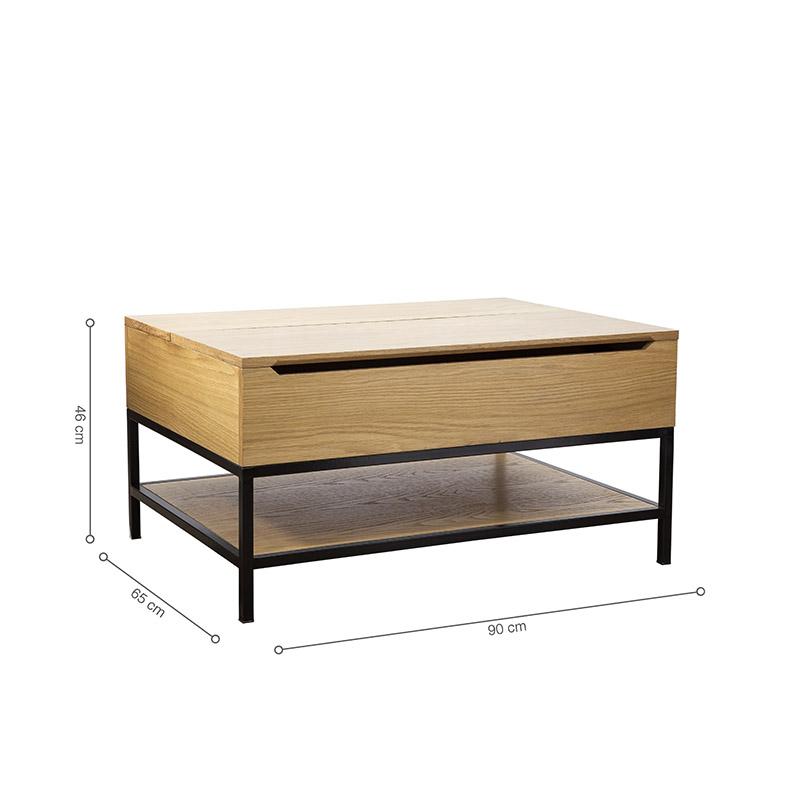 Kích thước bàn rộng vừa phải, chiều cao khi nâng mặt bàn lên vừa tầm người ngồi, sử dụng tiện lợi, đa năng.