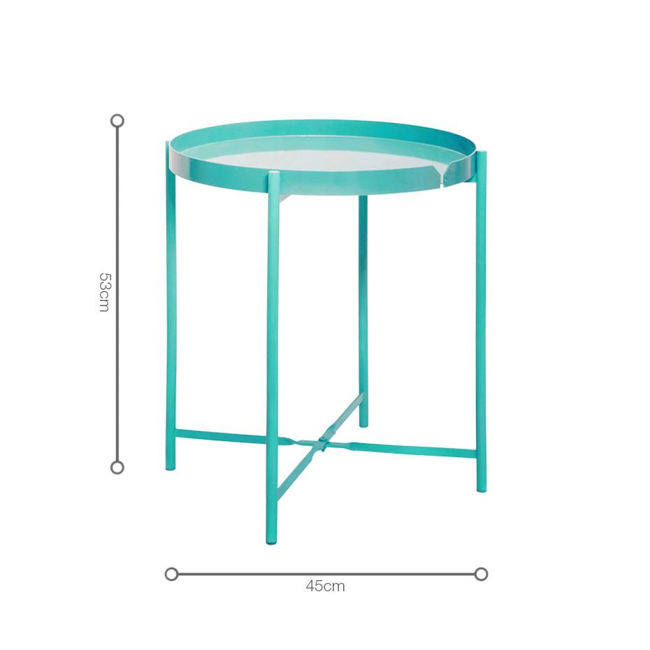 Kích thước bàn xếp gọn CANNES Teal nhỏ nhắn, đặt được nhiều nơi trong không gian, tạo điểm nhấn sáng.