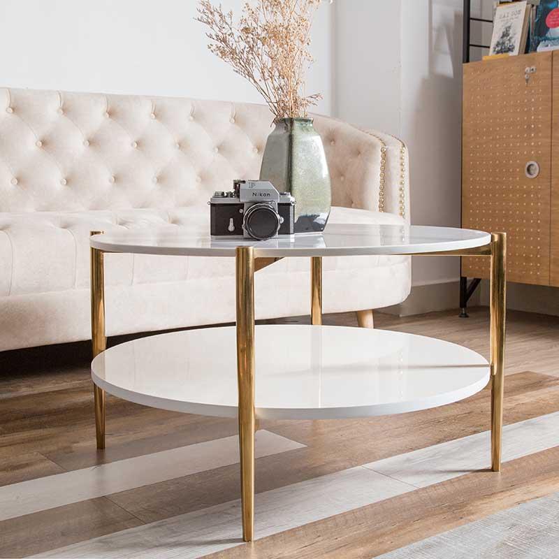 Kiểu dáng bàn cafe BALIAN tròn hiện đại, thông minh với 2 mặt bàn song song, tối ưu công năng sử dụng.