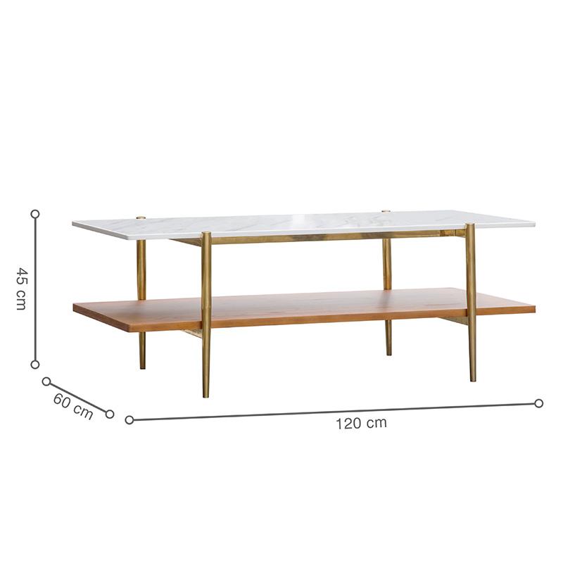 Kích thước bàn rộng và dài, sử dụng trong không gian sinh hoạt chung thoải mái, tiện lợi.