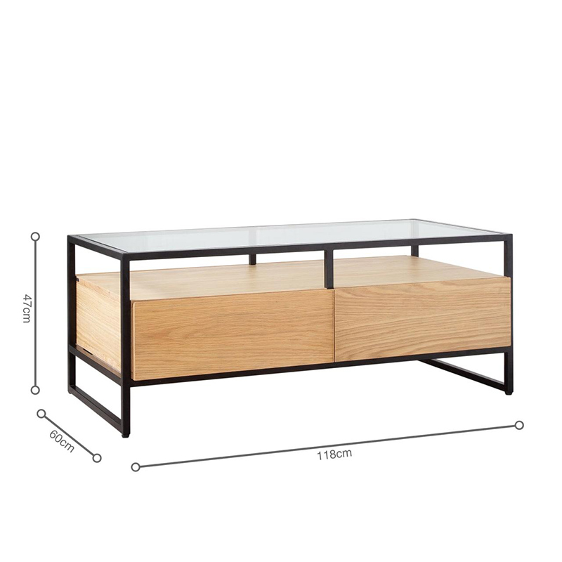 Bàn có chiều dài và rộng phù hợp với không gian phòng khách, chiều cao vừa tầm với người ngồi.