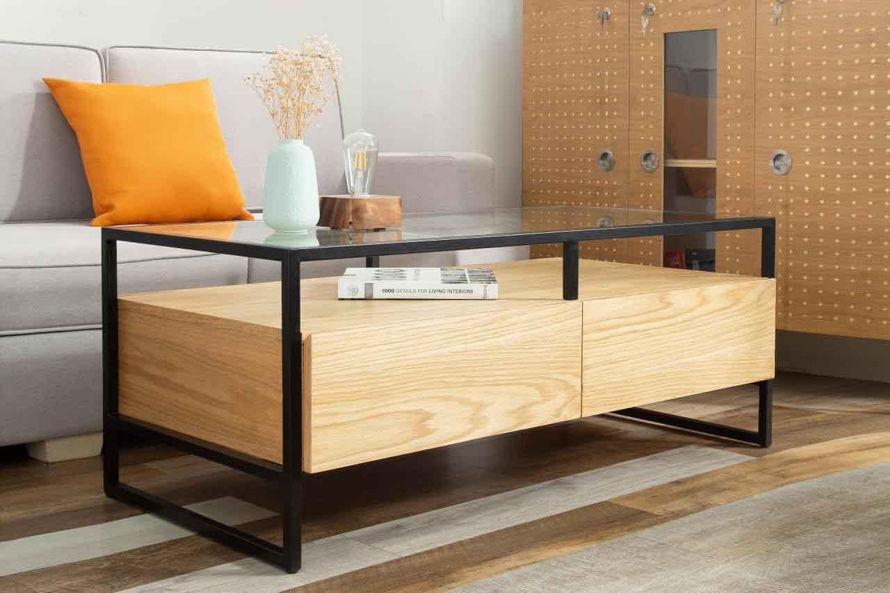 Mặt bàn từ kính trong suốt dễ lau chùi vệ sinh và tăng tính thẩm mỹ.