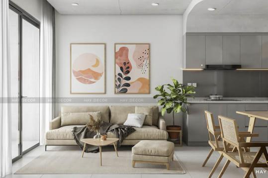 thiết kế phòng khách xinh xắn