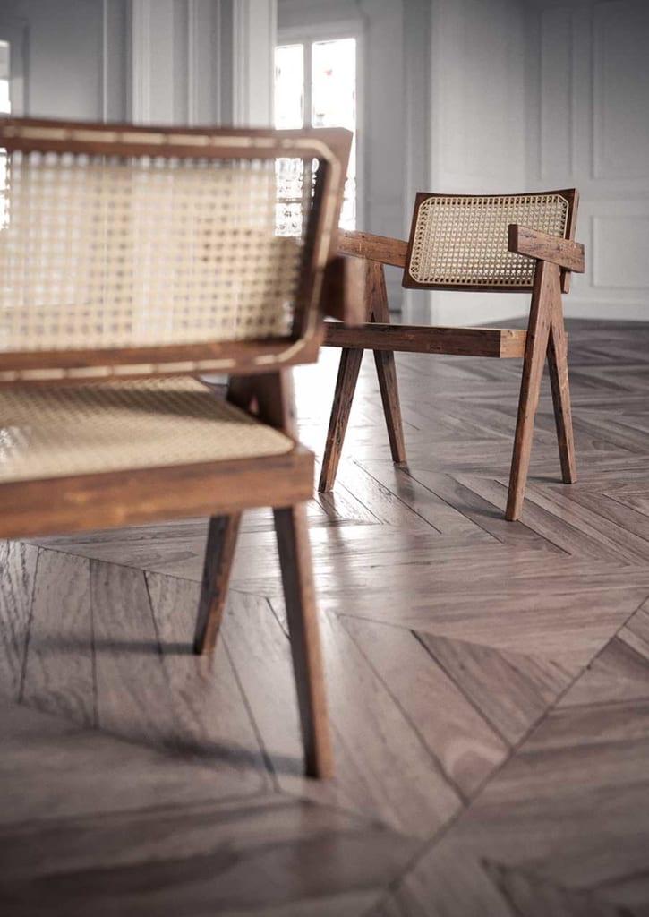 Một kiểu kết hợp giữa gỗ chắc chắn, mặt ngồi và lưng tựa bằng mây đan  giúp thoáng mát khi ngồi trong thời gian dài