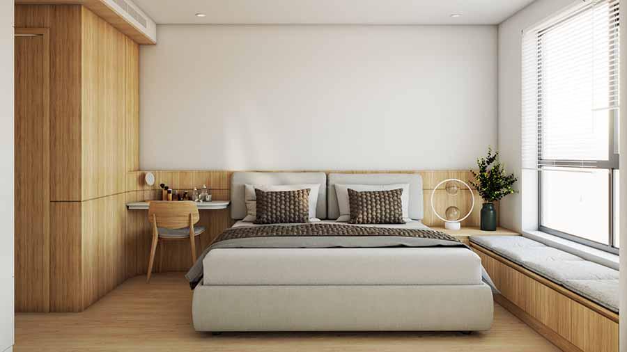 Phòng ngủ sử dụng sự đối lập màu sắc sàn và tường giúp không gian thêm thông thoáng