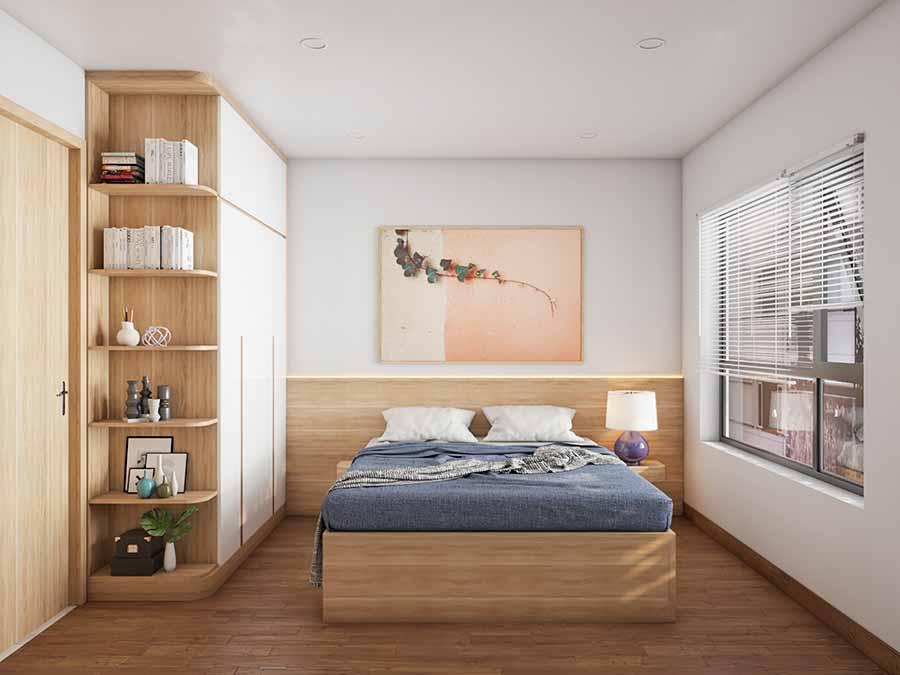 Sử dụng nội thất thông minh và tranh treo tường làm điểm nhấn cho phòng ngủ