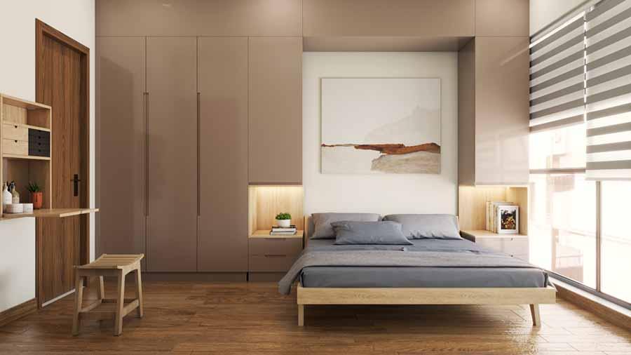 Không gian phòng ngủ tối giản với gam màu nâu ấm áp chủ đạo.