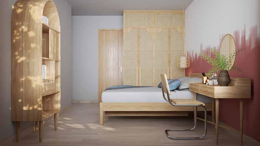 Căn phòng ngập tràn mùi gỗ mới cho những ai yêu thích vẻ đẹp mộc mạc bình dị.