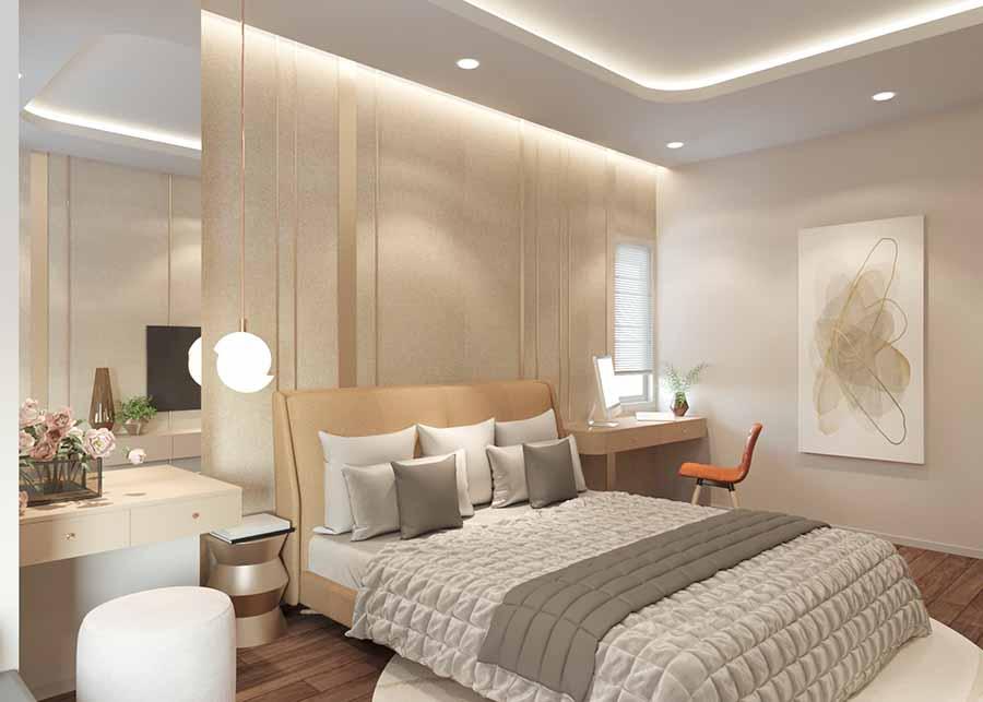 Không gian phòng ngủ trang nhã với màu sắc tinh khôi, nội thất sang trọng.