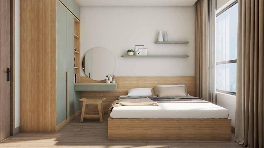 Phòng ngủ nhỏ gọn ấm áp với gam màu trầm nhẹ nhàng, thư thái