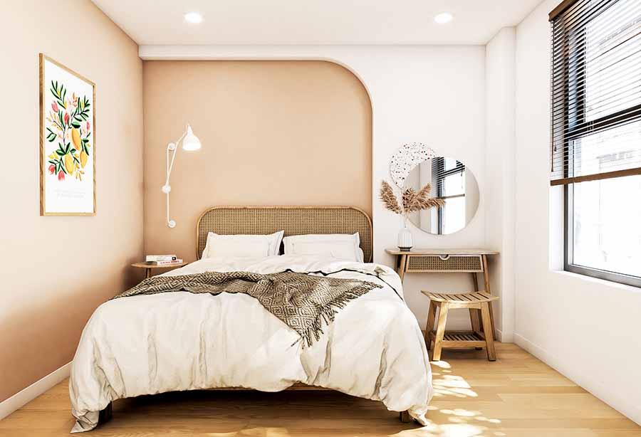Phòng ngủ nhỏ xinh với nội thất có kiểu dáng tinh tế kết hợp màu sắc tươi sáng.