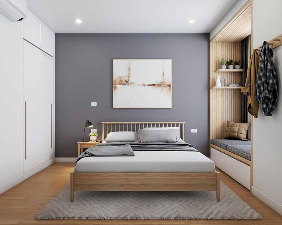 Mẫu phòng ngủ có diện tích nhỏ được tinh giản từ màu sắc đến nội thất.