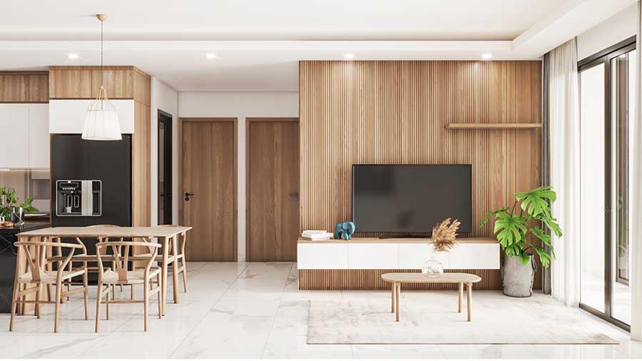 Những bức tường dán gỗ luôn được ưa chuộng để không gian phòng khách trở nên mộc mạc, tinh tế.