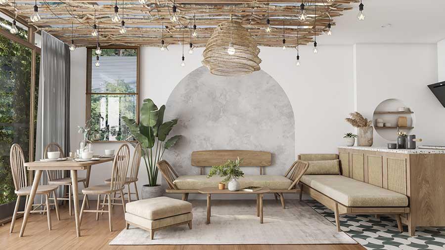 Không gian phòng khách tràn ngập mùi gỗ với kiểu dáng nội thất tinh tế.
