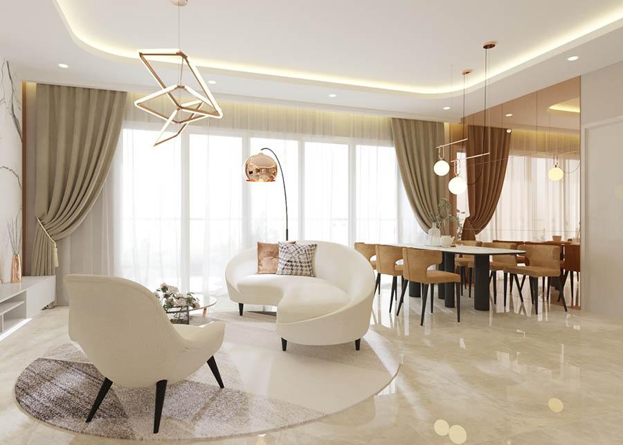 Ghế sofa kiểu dáng hiện đại, màu trắng xinh xắn cho phòng khách thêm trang nhã.