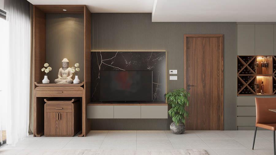 Sử dụng lam gỗ MDF sơn để tạo điếm nhấn cho không gian qua tường phòng khách.