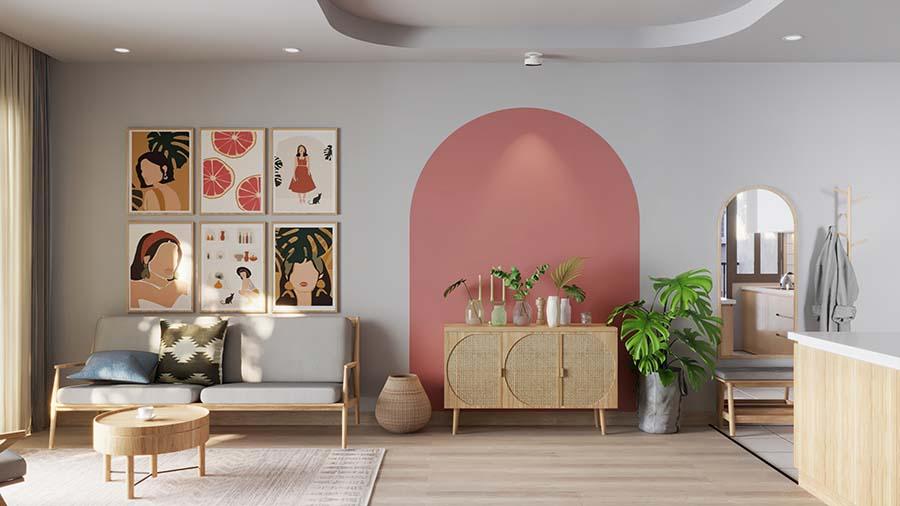 Bộ tranh treo tường nhiều màu sắc cho không gian phòng khách thêm sinh động.