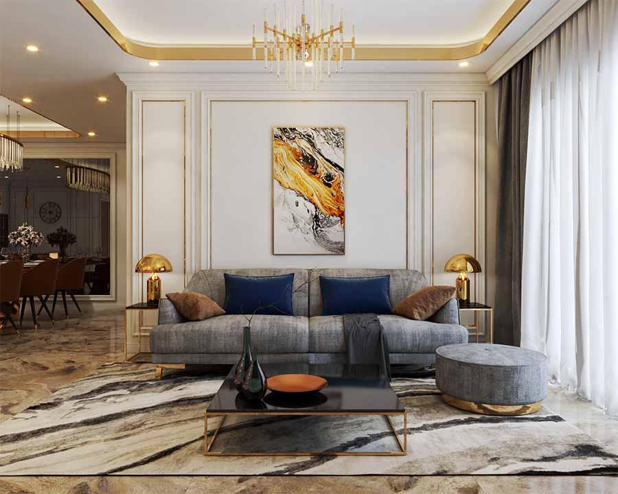 Phòng khách sử dụng sofa kết hợp bàn có kiểu dáng đơn giản, sang trọng làm điểm nhấn.