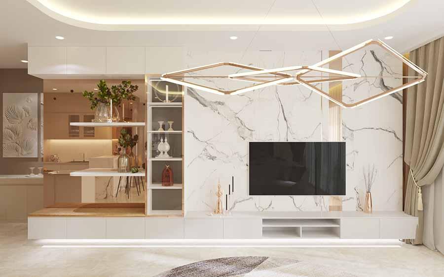 Không gian hiện đại với gam màu trắng chủ đạo, nổi bật lên với tường ốp đá Marble trắng vân mây sang trọng.