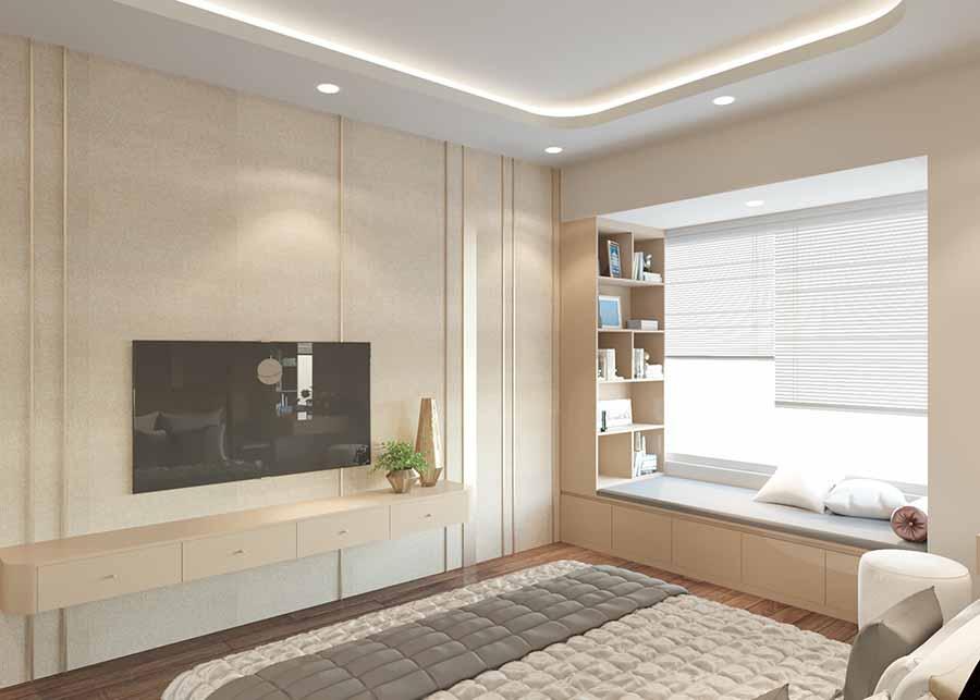 Kết hợp kệ sách và không gian nghỉ ngơi thư giãn tại cửa sổ rất tiện lợi và tinh tế, tiết kiệm được không gian cho căn phòng ngủ.
