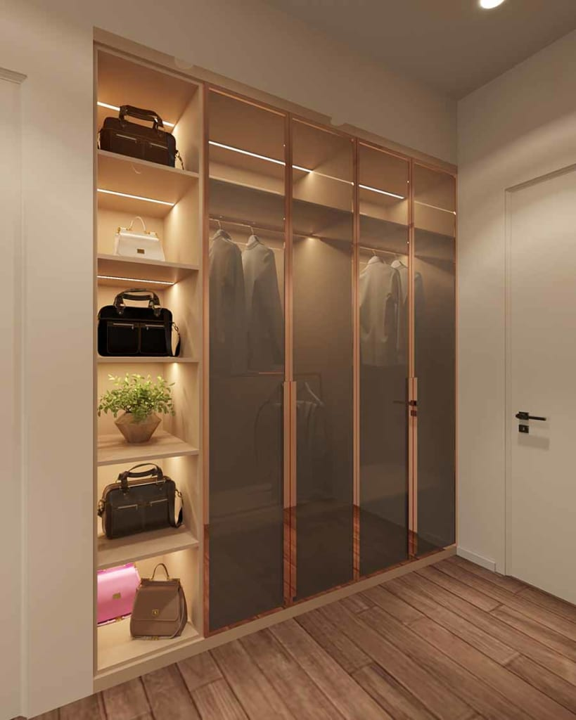 Sàn gỗ cùng tủ kịch trần với kiểu dáng sang trọng cho không gian riêng thêm ấm áp.