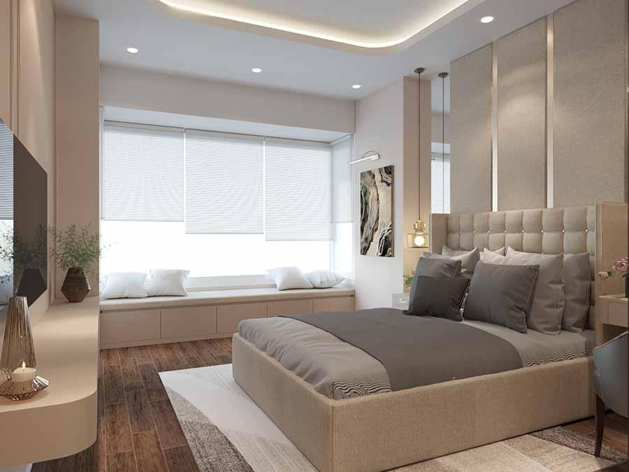 Tận dụng ánh sáng tự nhiên cho căn phòng thêm thông thoáng hơn bằng việc sử dụng rèm cho cửa sổ lớn.