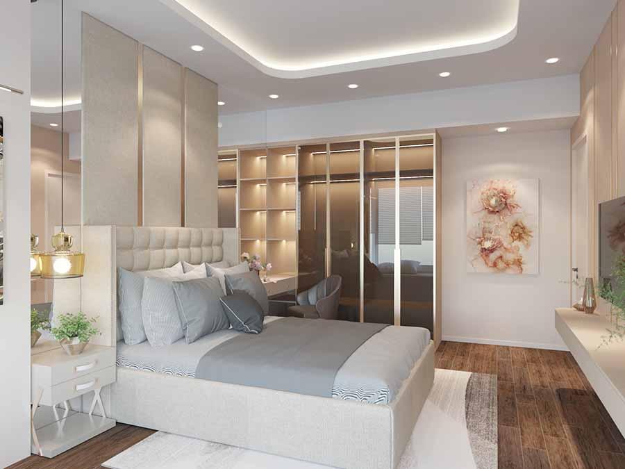 Phòng ngủ với gam màu nhẹ nhàng, thanh lịch, từng đường nét trần nhà đến đồ nội thất hài hòa với nhau, nổi bật không gian.