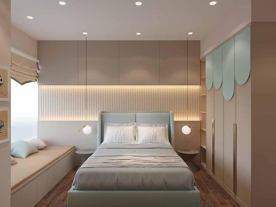Những đường nét cân đối trong việc sử dụng đèn trần và ánh sáng đầu giường hợp lí, nổi bật được màu sắc không gian phòng ngủ trẻ em tươi sáng.