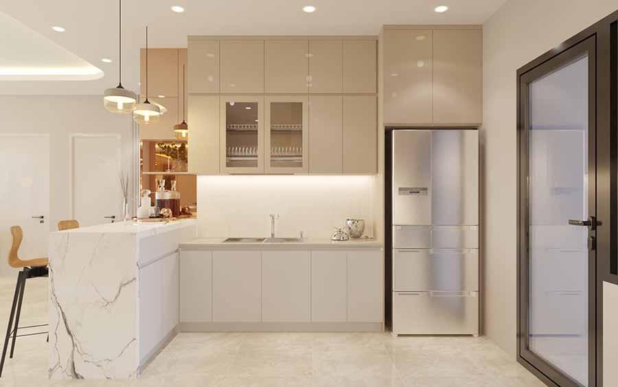 Bếp được thiết kế hình chữ L kết hợp với khu quầy bar tiện dụng ngay tại nhà.