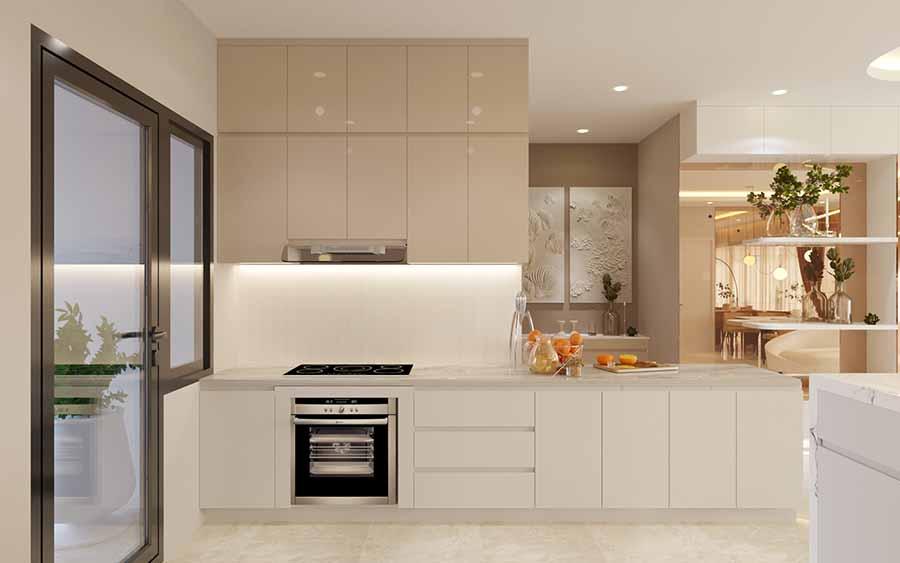 Bếp cạnh cửa sổ ban công, có thể mở cửa thông thoáng không khí và đón nắng tự nhiên để bếp thêm sáng.