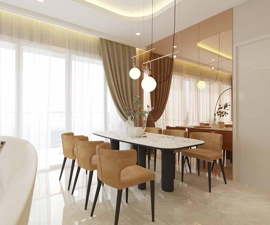 Sự xa hoa của phong cách thiết kế Modern Luxury còn thể hiện qua kiểu dáng của nội thất, điển hình như bộ bàn ghế ăn trông lịch lãm và sang trọng này.
