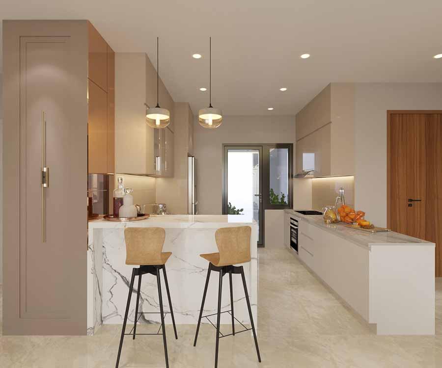 Bếp thiết kế đối xứng 2 bên cho không gian có chiều rộng và sâu hơn, mang lại sự thoải mái, tiện lợi khi sử dụng bếp.