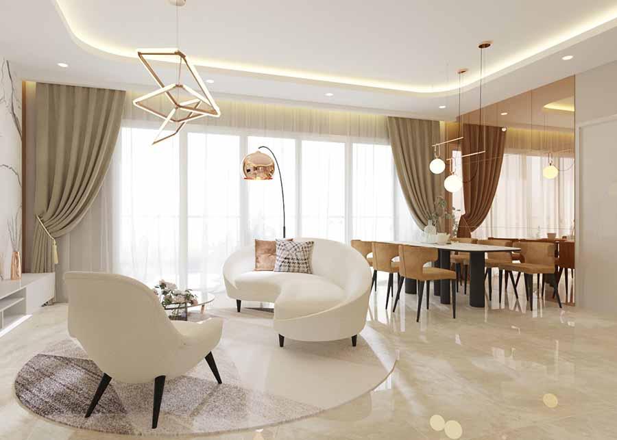 """Sử dụng nội thất đúng chất """"Luxury"""" từ kiểu dáng đến màu sắc qua bộ sofa sang trọng và đèn tinh tế."""