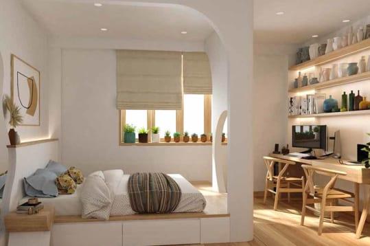 Căn phòng với 2 gam màu chủ đạo trắng và màu gỗ tự nhiên vàng ấm