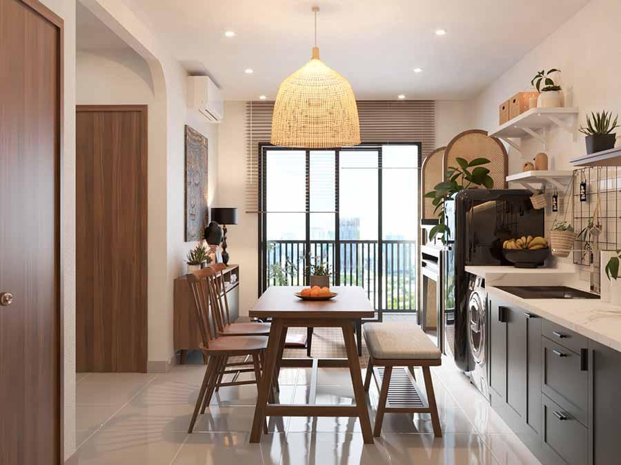 Thiết kế không gian mở của căn hộ Vinhome