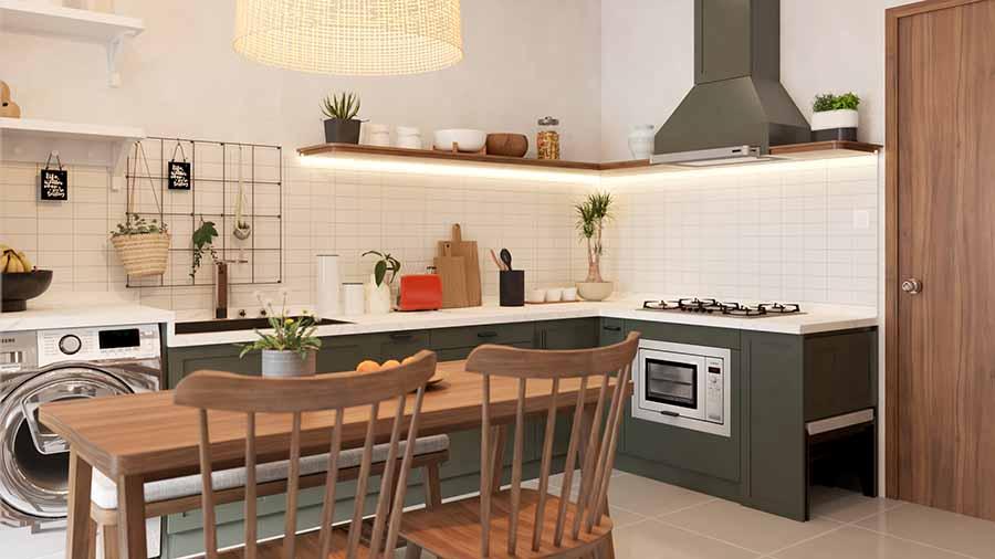 Khu vực nấu ăn tại bếp của căn hộ Vinhome