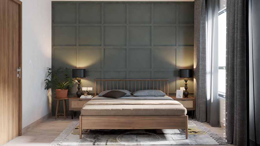 Thiết kế phòng ngủ với gam màu xám chủ đạo