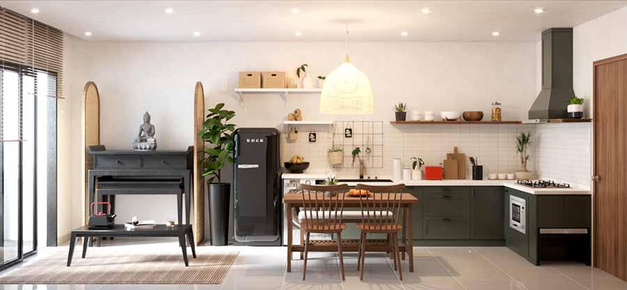 Thiết kế bếp thông với phòng khách