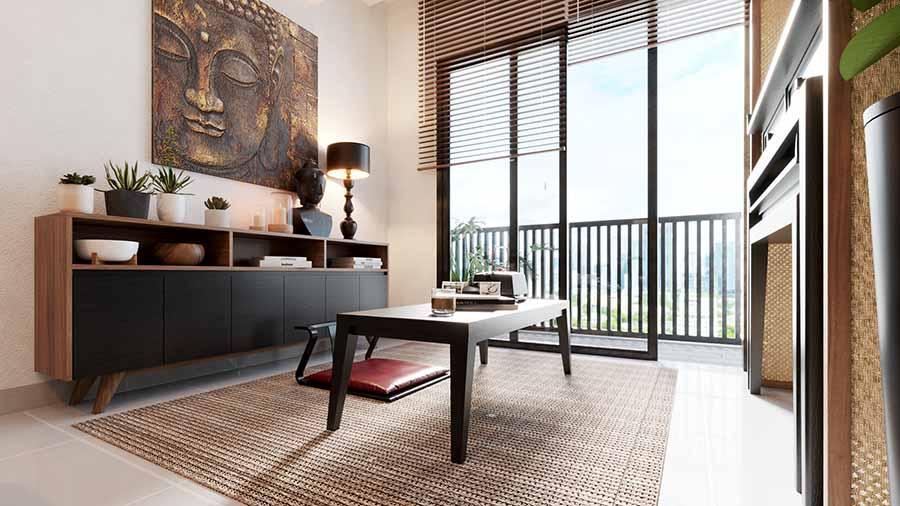 Sử dụng mành tre nứa làm rèm để tận dụng ánh sáng tự nhiên tối đa, tạo nên sự phản chiếu màu sắc và hình khối tinh tế từ hình dáng và màu sắc nội thất.