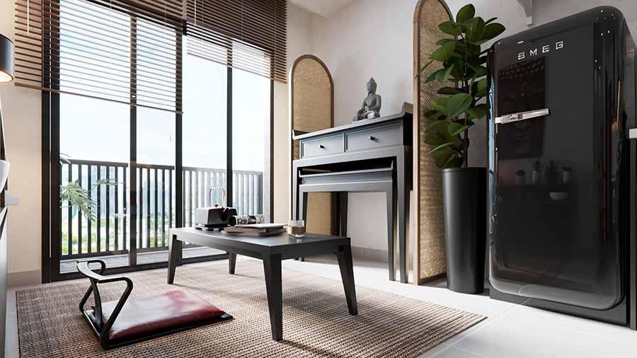 Sự đồng bộ từ chất liệu đến màu sắc của các nội thất được sử dụng tạo điểm nhấn ấn tượng cho không gian.