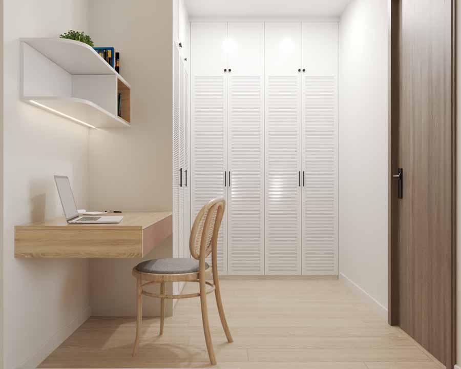 Không gian làm việc nhỏ gọn vẫn đáp ứng đủ công năng và vô cùng tiện lợi.