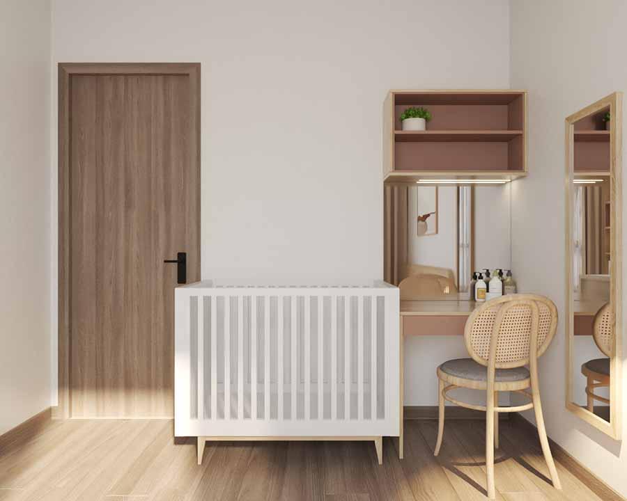 Bàn trang điểm và kệ gắn tường kết hợp hài hòa, tiết kiệm không gian cho phòng ngủ.
