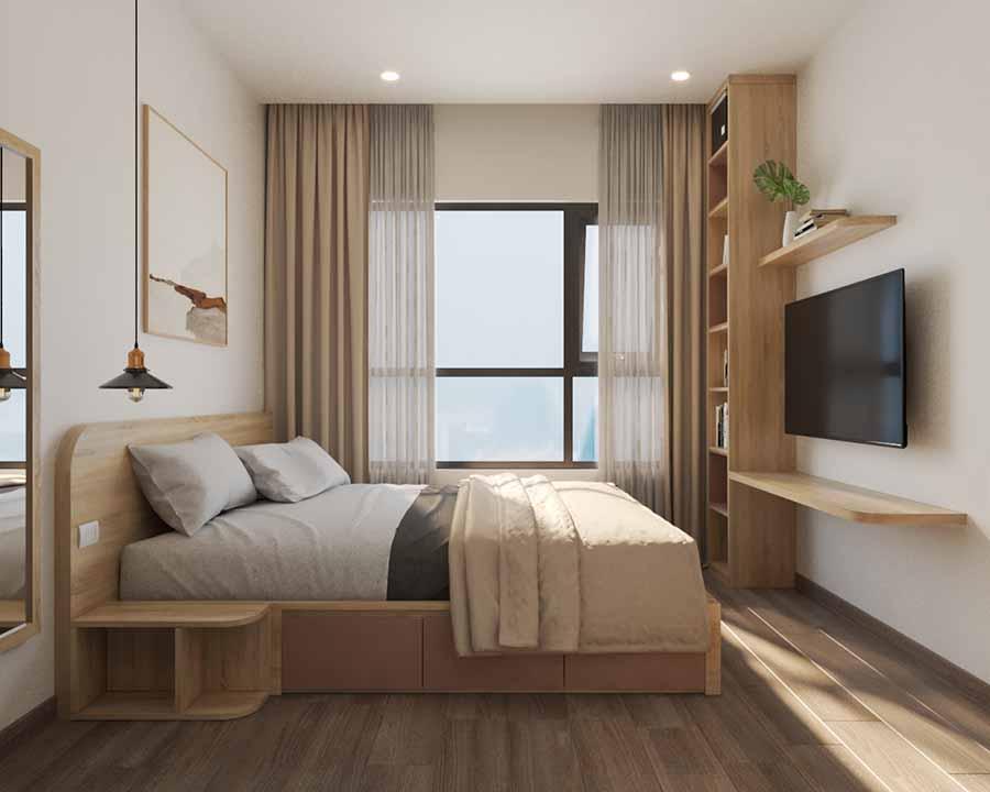 Tận dụng ánh sáng tự nhiên trong thiết kế phòng ngủ căn hộ vừa và nhỏ qua cửa sổ rộng.