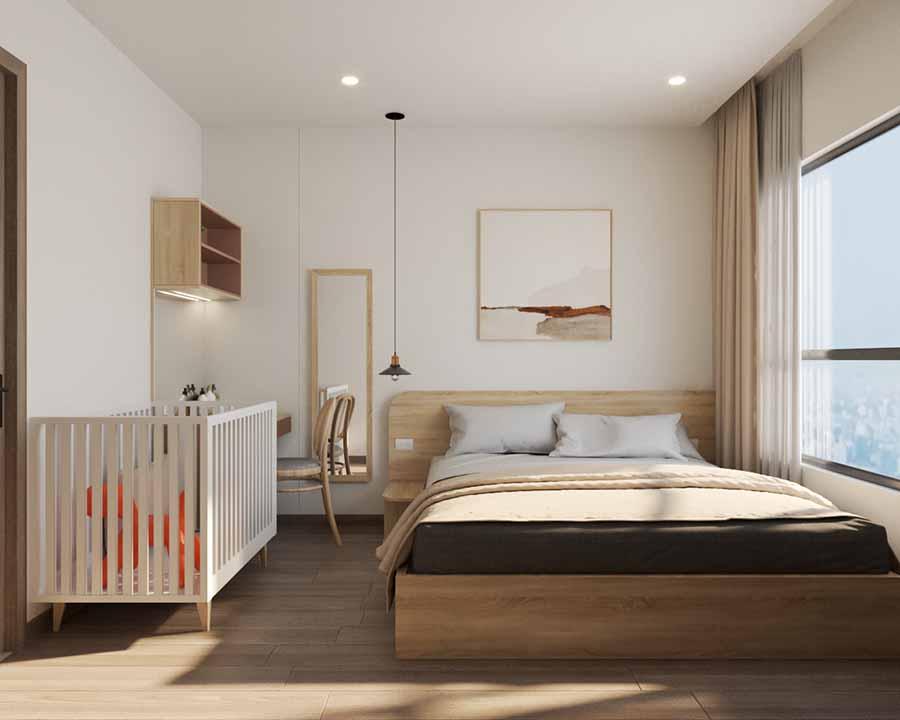 Không gian phòng ngủ với gam màu trắng tinh khôi và sắc gỗ ấm áp.