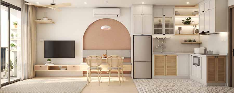 Gam màu be kết hợp hài hòa với màu hồng nhạt cho không gian thêm ngọt ngào.