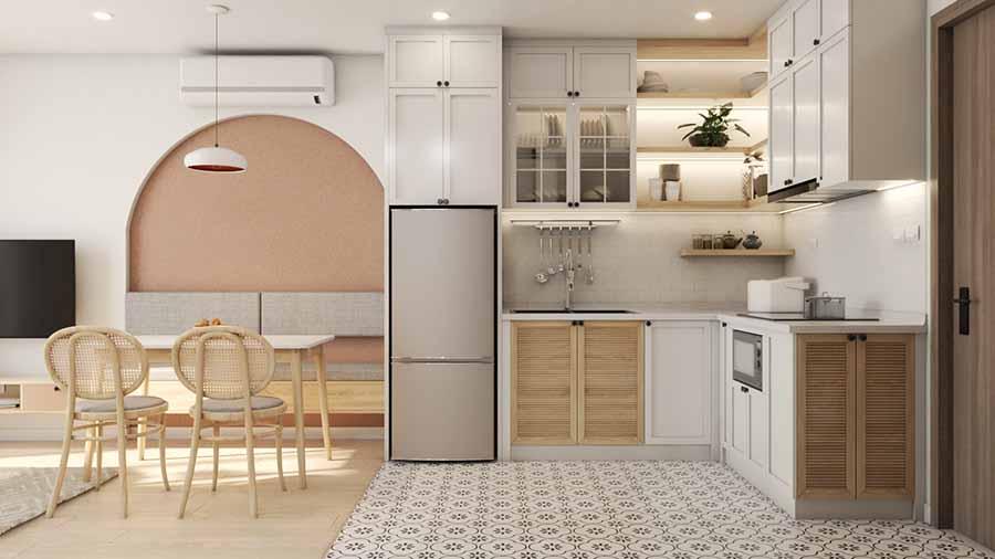 Thiết kế bếp hình dạng chữ L để tối ưu không gian cho căn hộ vừa và nhỏ.