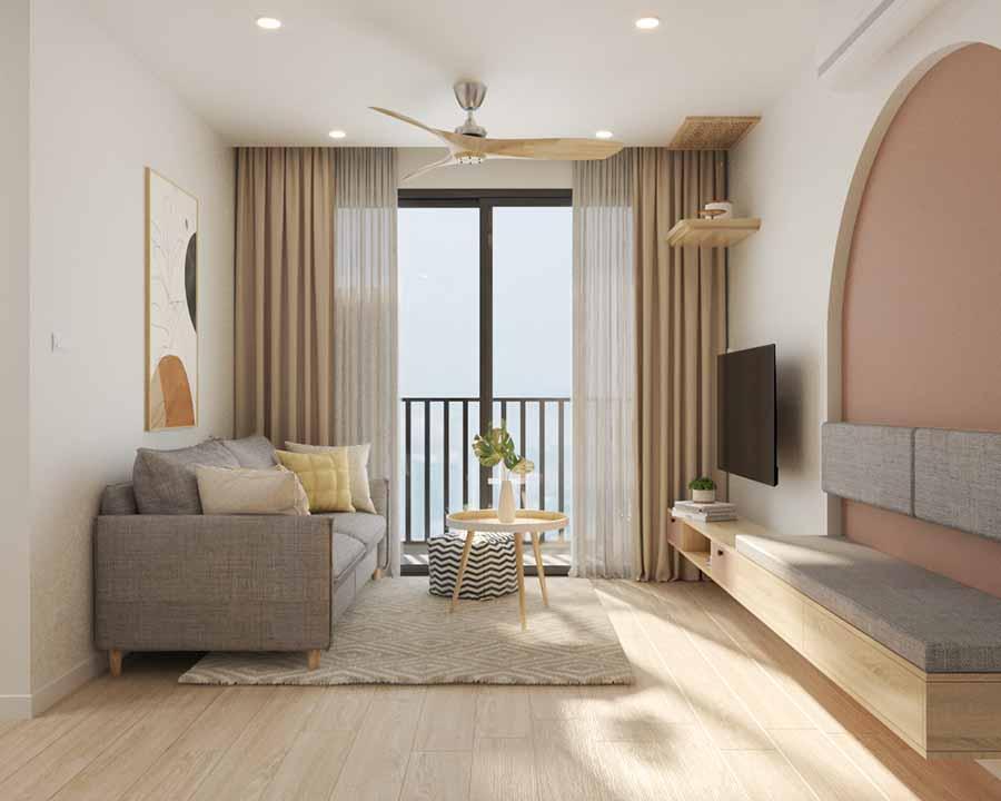 Thiết kế phòng khách căn hộ hài hòa màu sắc