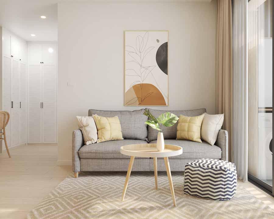 Một bộ sofa màu xám cùng chiếc bàn gỗ gọn gàng sẽ là gốc thư giãn lý tưởng và tạo điểm nhấn cho không gian.