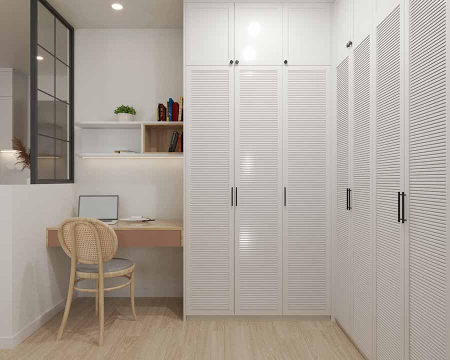 Kệ và bàn làm việc gắn tường giúp tiết kiệm không gian, thiết kế tủ quần áo chữ L kịch trần tinh gọn không chiếm nhiều diện tích sàn.
